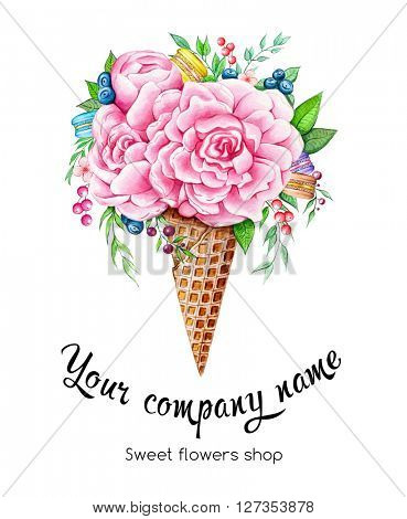 Watercolor illustration of flowers, macarons and berries in in waffle cone