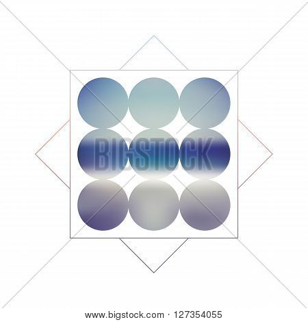 Abstract blurred geometric vector background with circles and gradient fill. Retro 80s style. Blue and turquoise colors as symbol for sea, ocean, coast. Eps10 vector illustration.
