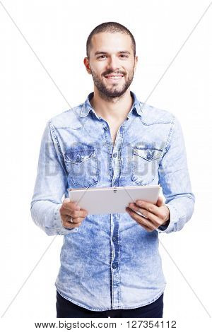 Casual man holding his digital tablet, isolated on white background