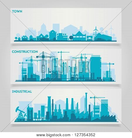 Vector horizontal banners skyline Kit with factories and industrial parts of cities and small towns or suburbs. Illustration divided on layers for create parallax effect