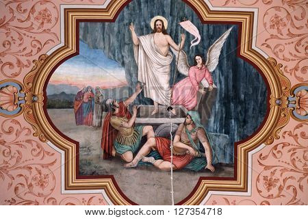 STITAR, CROATIA - AUGUST 27: The Resurrection of Jesus, fresco in the church of Saint Matthew in Stitar, Croatia on August 27, 2015