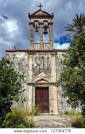 Tower and the bells of the Orthodox church on the island of Crete