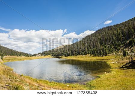 Poudre Lake in the fall in Rocky Mountains in Colorado