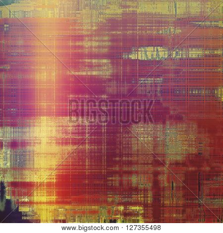Old-style dirty background with textured vintage elements and different color patterns: yellow (beige); red (orange); gray; purple (violet); pink