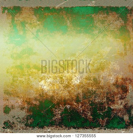 Scratched vintage texture, grunge style frame or background. With different color patterns: yellow (beige); brown; green; gray; cyan
