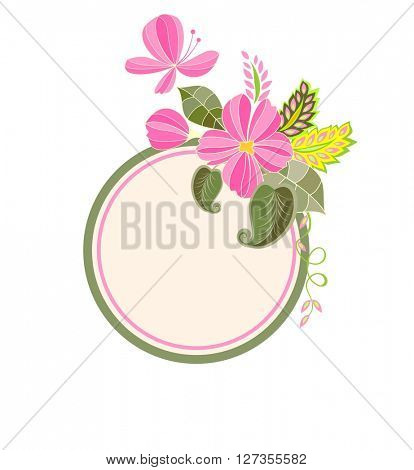 Wedding label with exotic flowers