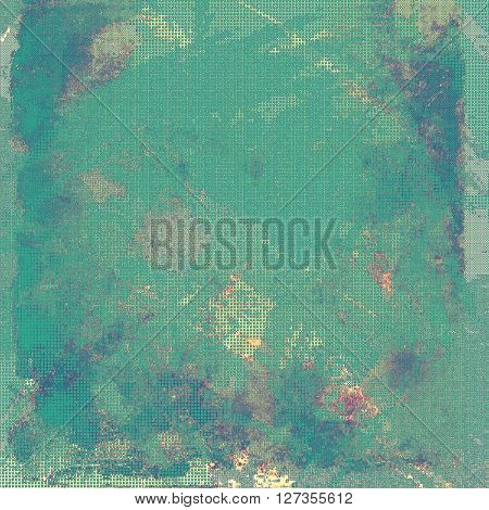 Art grunge background or vintage style texture with retro graphic elements and different color patterns: yellow (beige); green; blue; gray; purple (violet)