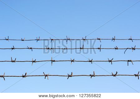 Four Barbed Wire Lines Against A Blue Sky