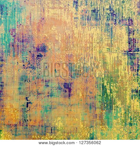 Colorful grunge texture or background with vintage style elements and different color patterns: yellow (beige); brown; green; blue; red (orange); purple (violet)