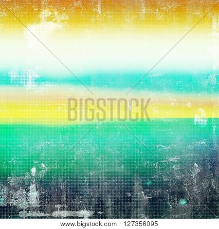 Art grunge background or vintage style texture with retro graphic elements and different color patterns: yellow (beige); green; blue; cyan; black; white