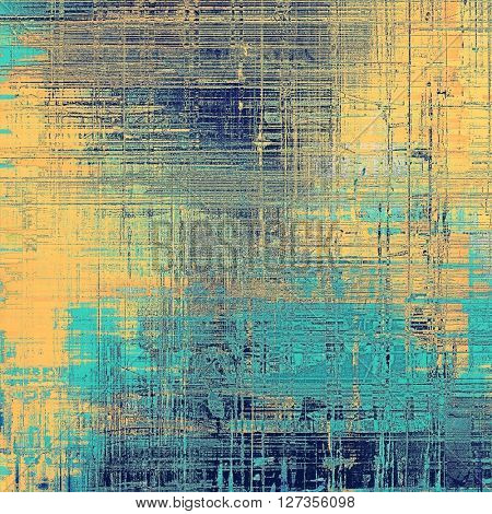 Retro style graphic composition on textured grunge background. With different color patterns: yellow (beige); blue; gray; cyan