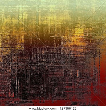 Art grunge background or vintage style texture with retro graphic elements and different color patterns: yellow (beige); brown; green; red (orange); gray; black