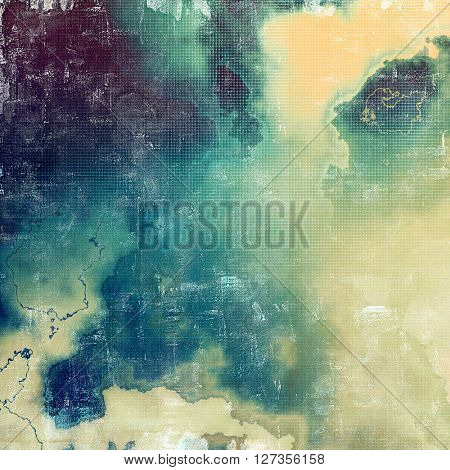 Old, grunge background or damaged texture in retro style. With different color patterns: yellow (beige); brown; green; blue; gray; cyan