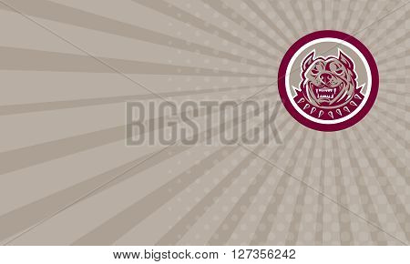 Business card showing illustration of a pitbull dog head facing front set inside circle on isolated background done in retro style.