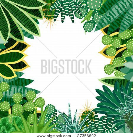 Cactus and succulents. Natural background of indoor plants isolated on white background. Round background for your text in the frame of the plants. Vector illustration.