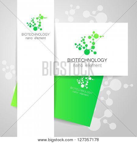 Biotechnology. Symbol molecule. Logo. Nanotechnology development. Presentation of corporate identity for the medical industry, science, modern technologies.