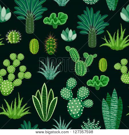 Seamless pattern of cacti and succulents. Modern seamless background of houseplants. Seamless pattern of cactus isolated on dark background. Vector illustration.
