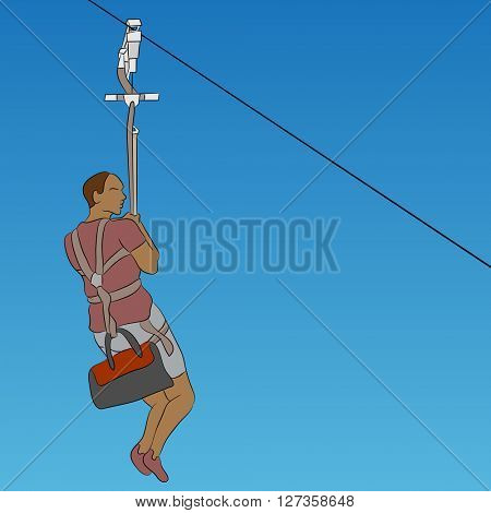 An image of a african male zip line rider.