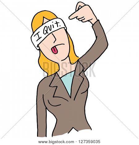 An image of a waiting businesswoman shooting self in head hand gesture.