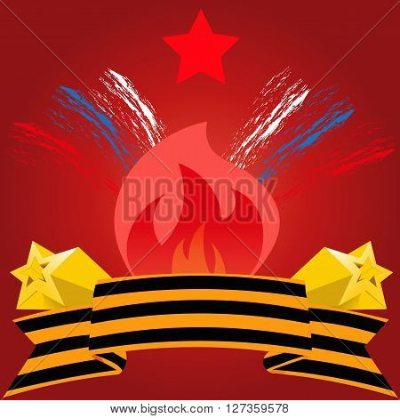 Russian Victory Day on 9 may vector illustration with a star and the eternal flame