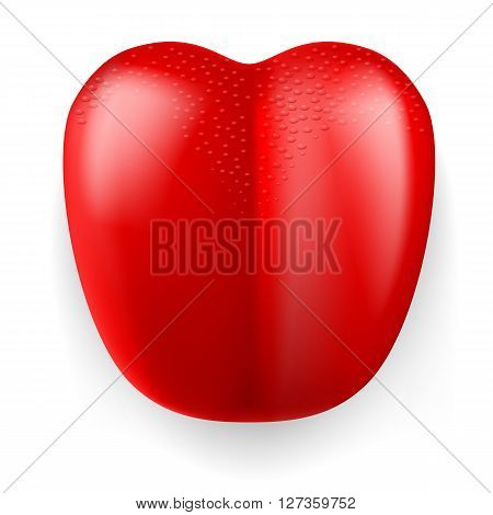 Large red plastic tongue on white background.