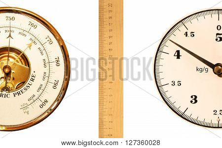 Barometer with scales and rulers on a white background