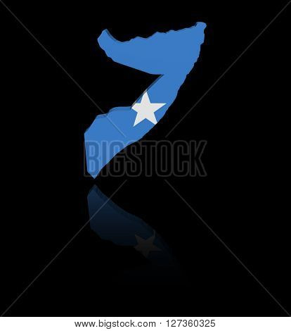 Somalia map flag with reflection 3d illustration