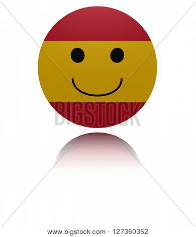 Spain happy icon with reflection 3d illustration