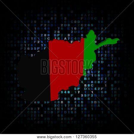 Afghan map flag on hex code 3d illustration