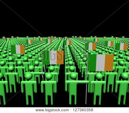 Crowd of abstract people with many Irish flags 3d illustration