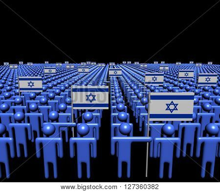 Crowd of abstract people with many Israeli flags illustration