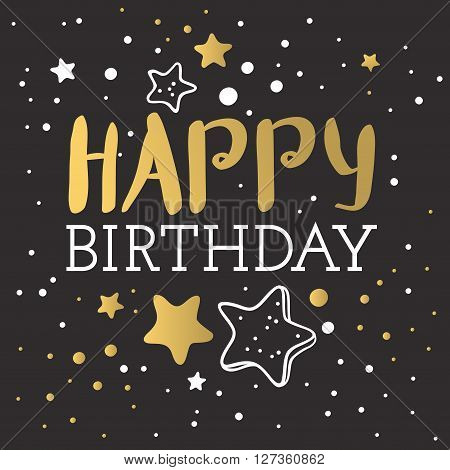 Beautiful birthday invitation cards design gold and black colors. Birthday vector greeting card decoration. Gold, black strips, lettering. Calligraphy text for Birthday party. Birthday invitation