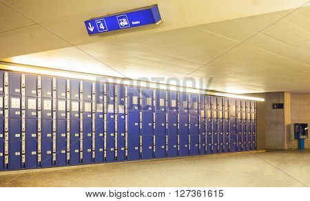 LUGANO, SWITZERLAND - FEBRUARY, 29: View of blue lockers cabinets in the Lugano railway station on February 29, 2016