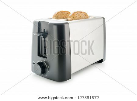 Electric toaster with two wholemeal bread slices loaded isolated on white background.
