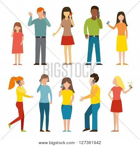 People talking phone character set and different people talking phone. Telephone communication people lifestyle. Set of calling mobile business adult people talking phone character vector illustration