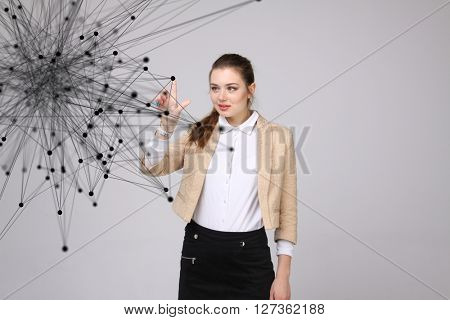Global network connection concept, woman working with futuristic computer interface.