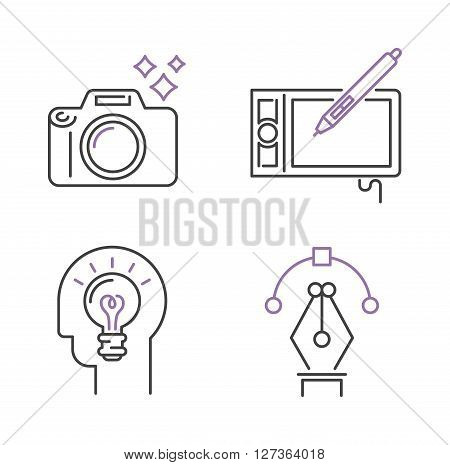 Photography icons camera design studio symbol lens vector outline art. Photography icons design studio logo and camera photography icons. Photography icons concept modern objective equipment.
