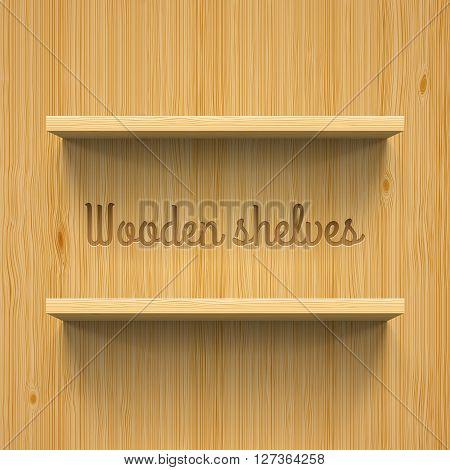 Two horizontal wooden bookshelves. Realistic illustration for design