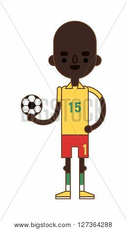 Little kid soccer boy playing with football sport equipment fun game vector character. Football soccer boy and sport football boy active character. Little training goal athlete football boy.