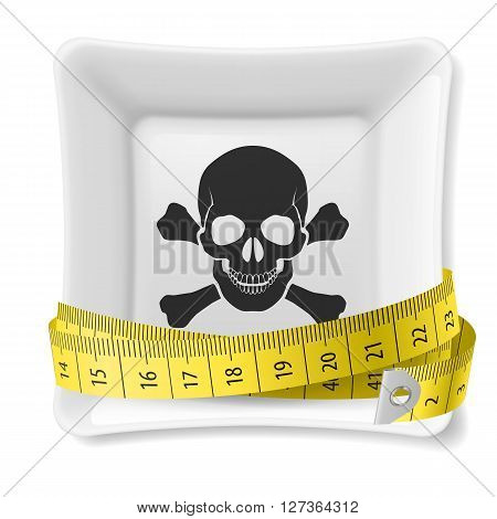 Plate with skull and crossbones image and tape measure around