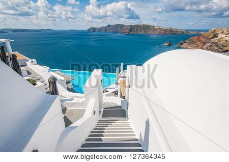 Outdoor recreation stairway in Santorini island, Greece