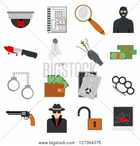 Crime icons protection law justice sign security police gun icon in flat colors vector. Crime thief prison icons and legal safety crime icons. Crime icons gavel lock investigation. Criminal set.