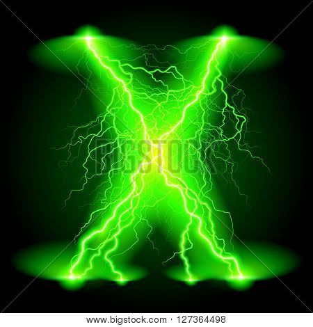 Criss-cross lines of branchy bright green lightning.
