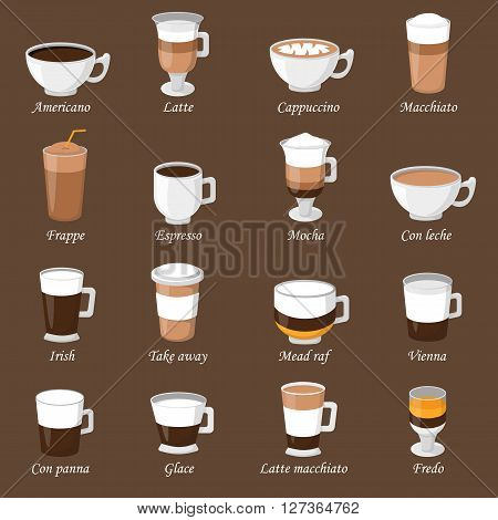 Coffee cups different cafe drinks types espresso mug with foam beverage breakfast morning sign vector. Coffee cups breakfast and morning coffee cups. Coffee cups with foam, different foam coffee.
