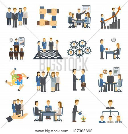 Teamwork icons set group symbol communication social design person meeting vector illustration. Teamwork icons partnership success and organization community teamwork icons. Teamwork leadership.