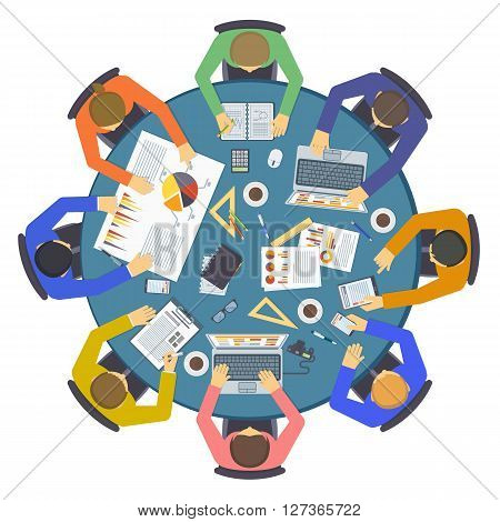 Brainstorming creative team idea discussion people flat infographic concept vector. Teamwork brainstorm staff around table and laptop chief art director brainstorm team designer programmer.