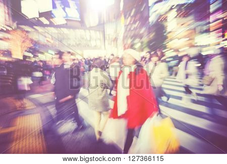 Large Crowd Walking in a City Concept