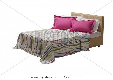 colorful covers on double bed , isolated on white background