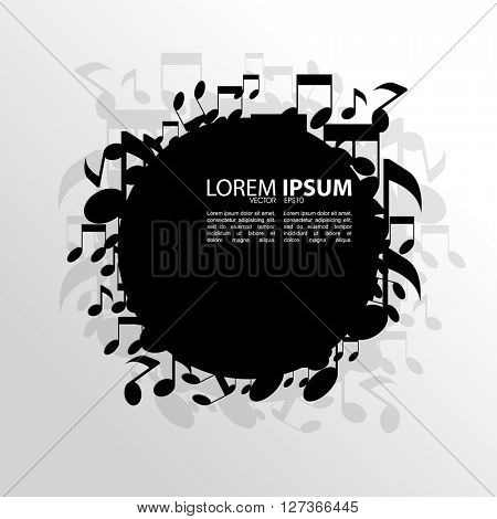 eps10 vector blank black round frame, scattered musical notes elements