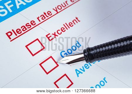 Customer Satisfaction Survey Checkbox With Rating And Pen Pointing At Good, Can Use Any Business Con